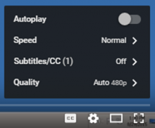 Location of YouTube Quality Setting