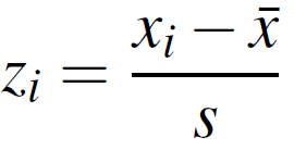 gives the z-score formula in which we take the specified value, x, and subtract the sample mean, x-bar, then divide that result by the standard deviation to get the z-score